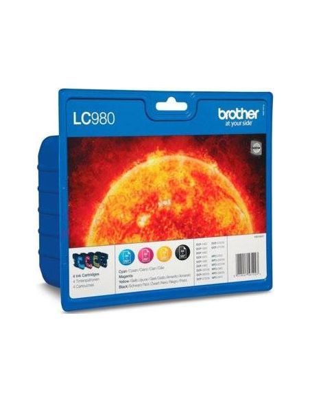 Pack Tinta Brother LC980VAL BK,C,M,Y (300 Pág)