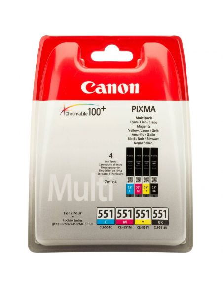Tinta Pack Canon 551 BK-C-M-Y (4 cartuchos x 7ml)
