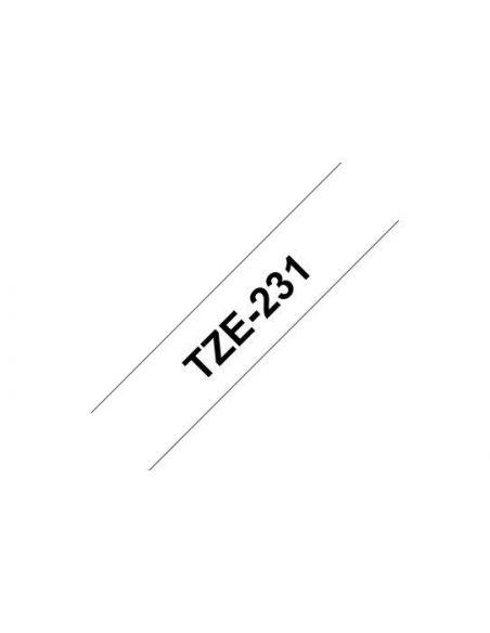Cinta para Brother TZE231 laminada Texto negro fondo blanco ancho 12mm