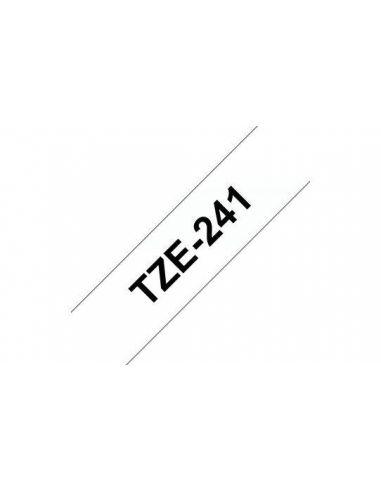 Cinta Brother TZe241 laminada Texto negro sobre fondo blanco Ancho 18 mm
