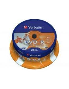 DVD-R 4.7GB 16x Imprimibles (Tarrina 25 Uds)(+ LPI 0.21) Verbatim 43538