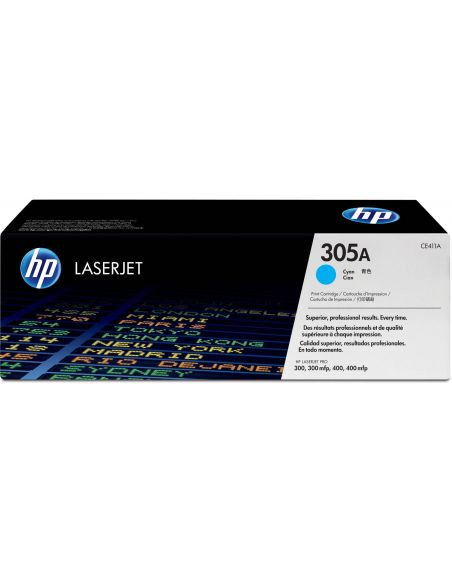 Tóner HP 305A Cian CE411A para Laserjet Pro 300 M351 Pro 400 M451