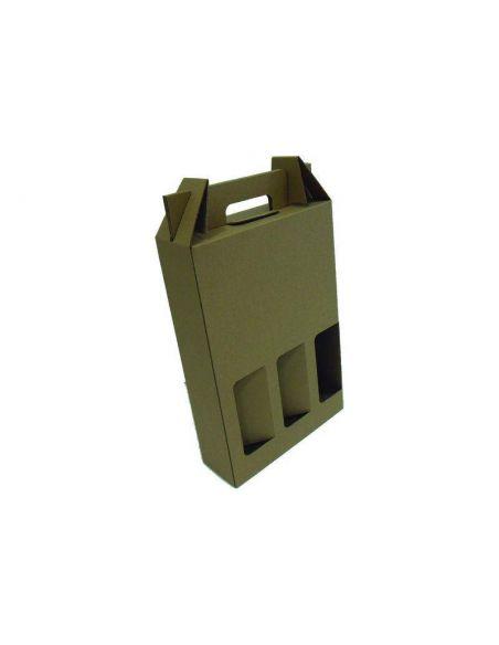 Caja para botellas de 75cc 242x80x357mm (3 botellas) (5Unid)