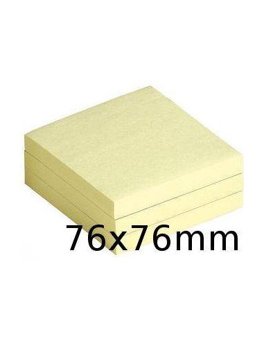 Cubo de notas adhesivas 76x76mm Amarillo 100h tipo postit UU001156536