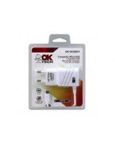 Cargador OkTech MicroUSB 5V 2A 1.2m + 2 Puertos USB Blanco OK-HCUSB01