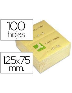 Notas adhesivas 75x125mm amarillo 100h. Tipo Post-it KF10503