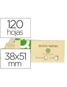 Notas adhesivas 38x51mm amarillo 120h. Tipo Post-it KF22367