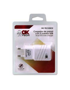 Cargador OkTech de Pared 2 Puertos USB 5V 2A OK-TRCUSB02