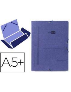 Carpeta gomas cuarto 3 solapas carton pintado azul CG07