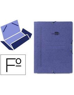Carpeta gomas cartoncillo 3 solapas Folio Azul