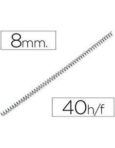 Espiral de encuadernación 8mm metálicas NEGRO hasta 40h. (100 Unid) ESP008