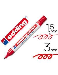 Rotulador edding marcador permanente 3000 rojo punta redonda 1,5-3mm 3000-R