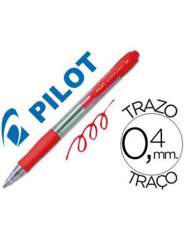 Bolígrafo super grip Rojo 0.4mm retractil aceite Pilot BPGP-10-M-R