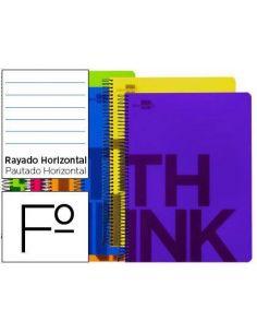 Cuaderno espiral folio tapa plastico 80h 80gr horizontal c/margen 6 colores surtidos TH10