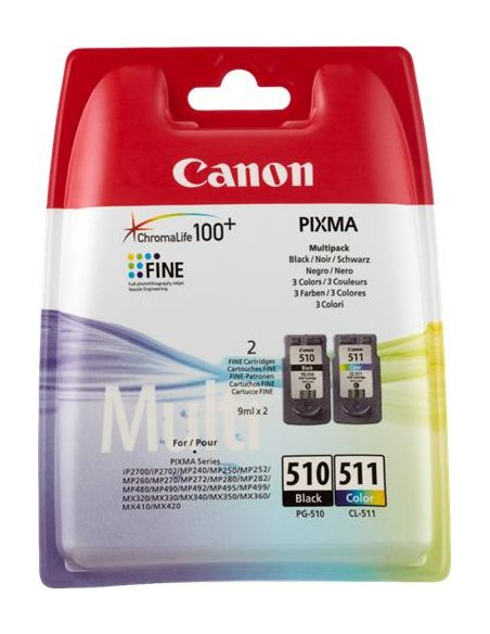 Pack Tinta Canon 510 negro 511 Color