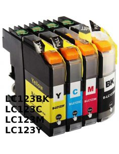 Tinta Pack para Brother LC-123 Negro,Cian,Magenta,Amarillo (20ml y 10ml)(No original)