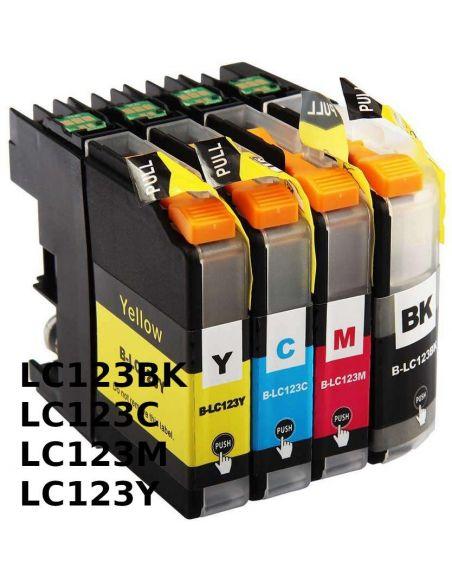 Pack Tinta para Brother LC123 BK/C/M/Y (20ml y 10ml)No original