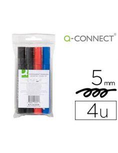 Rotulador marcador permanente 4 colores surtidos punta biselada 5.0mm KF26089