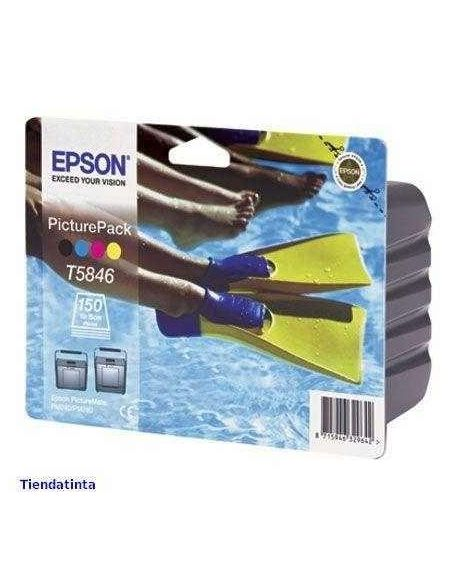 Pack Tinta Epson T5846 BK,C,M,Y C13T584640 (4 Cartuchos) (39.1ml)