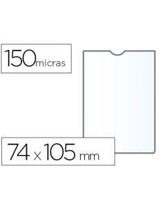 Funda portadocumento 74x105mm Din-A7 150mic PVC transparente con uñero (25 Unid)