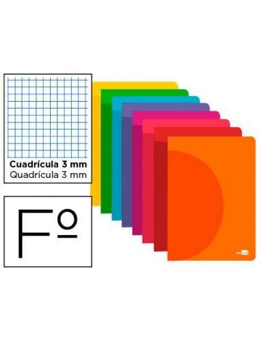 Cuaderno A4 48h. cuadricula 3mm con margen de colores surtidos