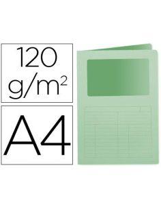 Subcarpeta cartulina A4 VERDE con ventana transparente 120g/m² KF15247