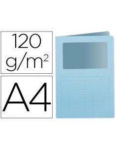 Subcarpeta cartulina A4 AZUL Claro con ventana transparente 120g/m² KF15246