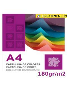 Cartulina de 10 colores distintos tamaño A4 y 180g/m² (1 h)