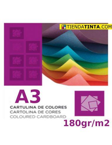 Cartulina de 10 colores distintos tamaño A3 y 180g/m² (1 h)