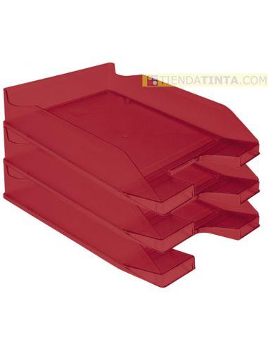 Bandeja documentos 342x240 plastico Rojo Translúcido