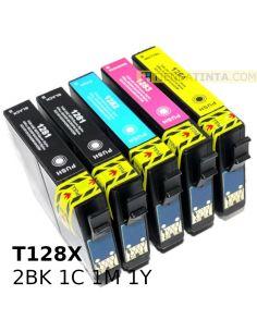 Tinta compatible Pack Epson T128X 2BK 1c 1m 1y (5 Unid)