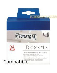 Rollo de etiquetas para Brother 62mmx15m continua película plástica DK22212