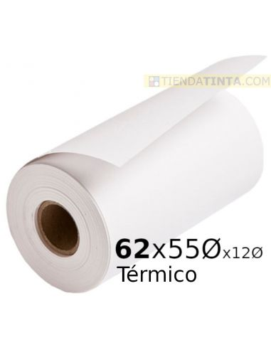 Rollo papel térmico 62x55x12mm 56g/m²