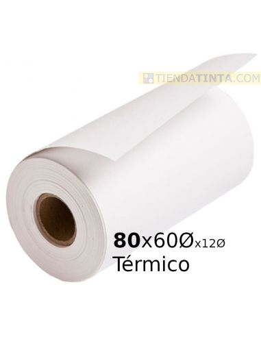 Rollo papel termico 80x60x12 55g/m²