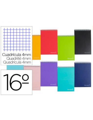 Cuaderno espiral de bolsillo 16º 80h. Cuadricula 4x4 Tapa dura
