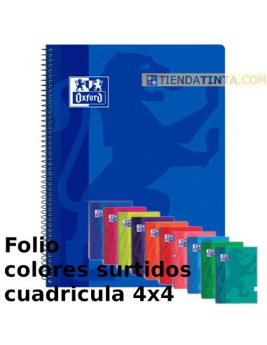 Cuaderno espiral folio tapa plastico 80h cuadricula 4x4 colores surtidos