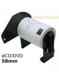 Rollo etiquetas para Brother ø58mm circular para CD/DVD (100 unidades) DK11207