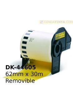 Rollo etiquetas para Brother 62mm continua removible amarilla DK44605 No original