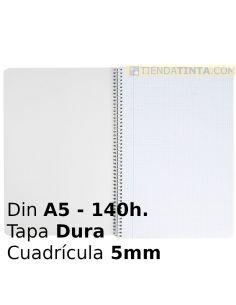 Cuaderno espiral A5 140h. Cuadricula 5x5 Tapa dura