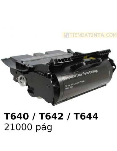 Tóner compatible Lexmark T640 Negro (21000 Pag) para T642 y mas