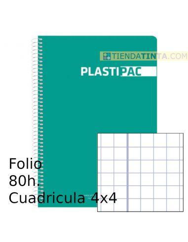 Cuaderno espiral Folio tapa plástico 80h cuadricula 4x4 colores surtidos