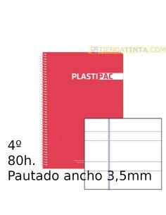 Cuaderno espiral 4º tapa plástico 80h doble pauta 3,5 colores surtidos