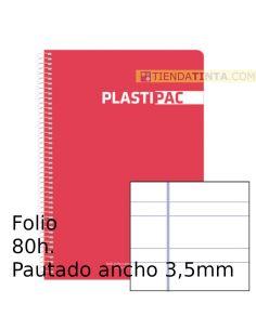 Cuaderno espiral Folio tapa plástico 80h doble pauta colores surtidos